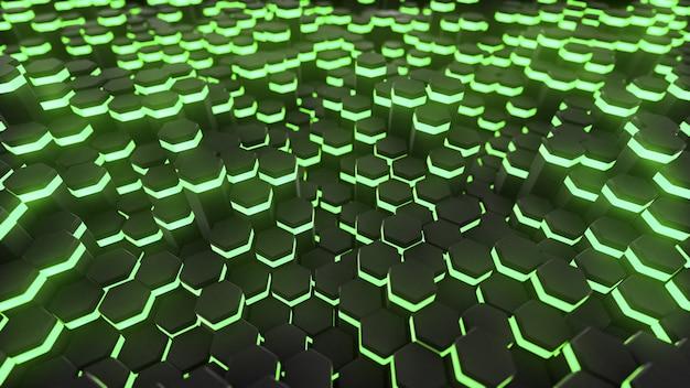 Grafika trójwymiarowa streszczenie sześciokąt z neonowym tle geometrii