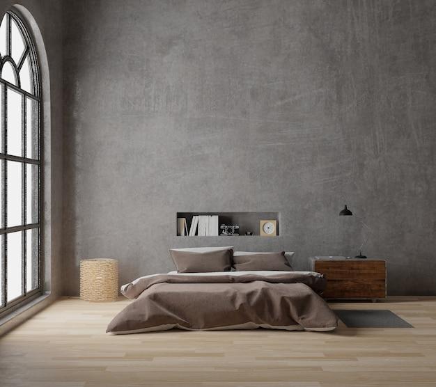 Grafika trójwymiarowa sypialnia styl loft z surowego betonu, drewniane podłogi, duże okno