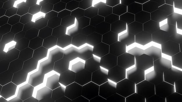 Grafika trójwymiarowa sześciokąt czarno-biały kolor