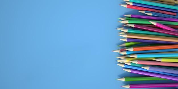 Grafika trójwymiarowa układu kolorowych ołówków
