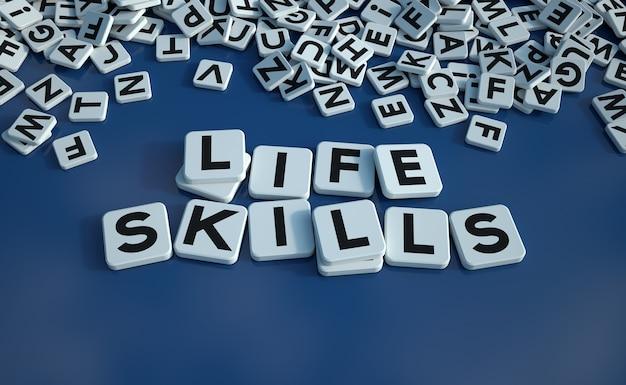Grafika trójwymiarowa umiejętności życiowych słów napisanych na kafelkach z literami na niebieskiej powierzchni
