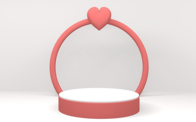 Grafika trójwymiarowa valentine różowy podium wyświetlacz minimalny projekt na białym tle