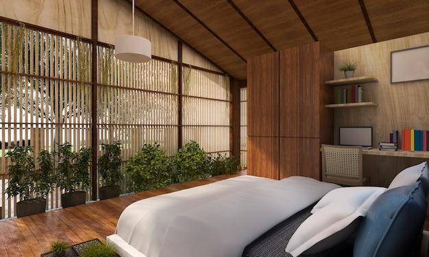 Grafika trójwymiarowa współczesna sypialnia z widokiem na przyrodę