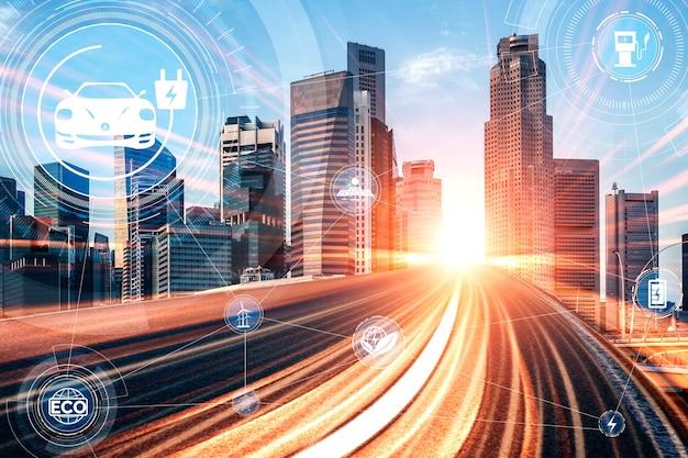 Grafika wirtualnej rzeczywistości samochodu elektrycznego na drodze w szybkiej stacji ładowania ev dla zielonej energii i ekologicznej energii wytwarzanej ze zrównoważonego źródła w celu dostarczenia do stacji w celu zmniejszenia emisji co2.