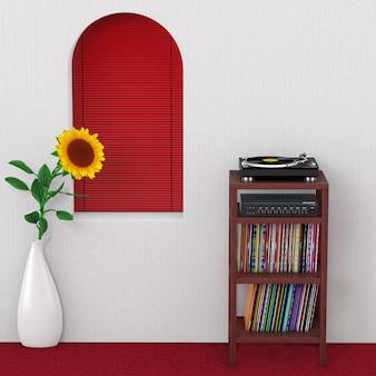 Gramofon gramofonowy, wzmacniacz miksera stereo hifi i syack starego dysku z płytą winylową z drewnianym stojakiem do przechowywania stojaków przed ścianą z ekstremalnym zbliżeniem czerwonego okna. renderowanie 3d