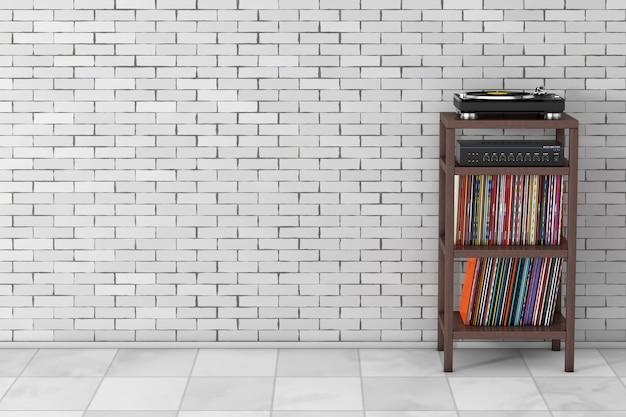 Gramofon gramofonowy, wzmacniacz miksera stereo hifi i syack ze starego dysku z płytą winylową z drewnianym stojakiem do przechowywania przed ceglaną ścianą. renderowanie 3d