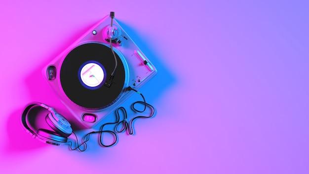 Gramofon winylowy w oświetleniu neonowym, ilustracja 3d