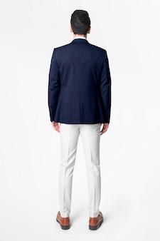 Granatowa męska marynarka biznesowa nosić modny widok z tyłu