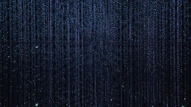 Granatowe tło punktowej diody led miga, miga i migocze żarówki. boże narodzenie i wakacje podświetlane neonowe błyszczące tło. abstrakcyjna dekoracja ścienna z błyszczącej girlandy na imprezę. lekki tunel.