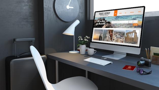 Granatowy pulpit z akcesoriami podróżniczymi i witryną agencji na komputerze makieta renderowania 3d