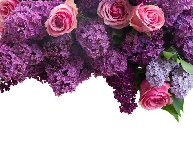 Granica fioletowe kwiaty bzu z różowymi różami na białym tle