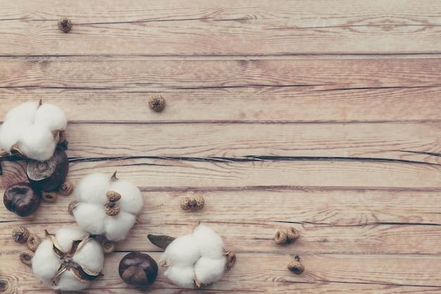 Granica jesiennej kompozycji kwiatowej. biały puszysty bawełniany kwiat i kasztan na drewnianym stole.