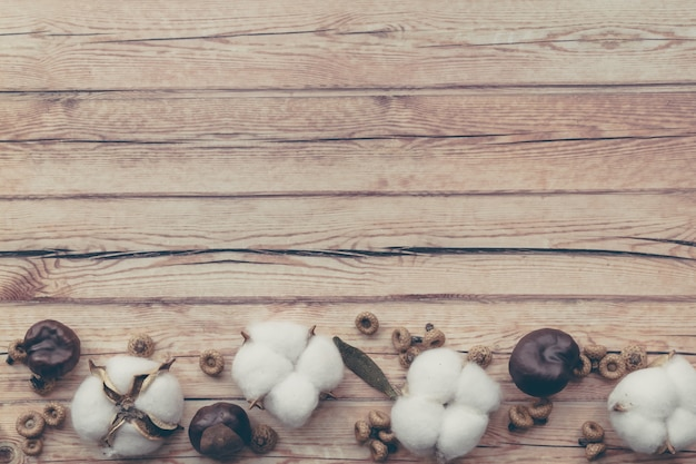 Granica jesiennej kompozycji kwiatowej. wysuszony biały puszysty bawełniany kwiat i kasztan na drewnianym stole.