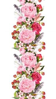 Granica kwiatowy z kwiatami, różami, piórami. vintage powtórzony pasek. akwarela