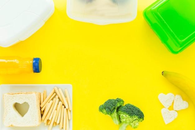 Granica od zdrowej żywności i lunchboxów