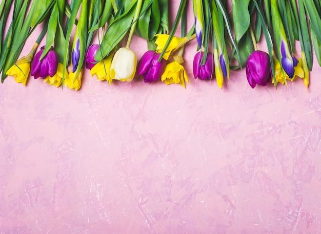 Granica wiosny wielokolorowe kwiaty na różowym tle