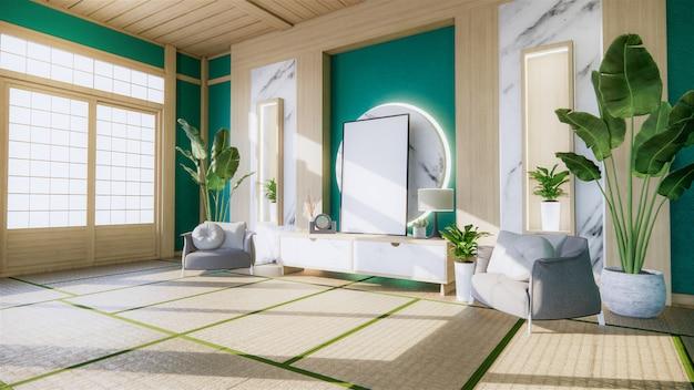 Granitowa biała ściana salonu z dekoracją w stylu japońskim i ścianą półki. renderowania 3d