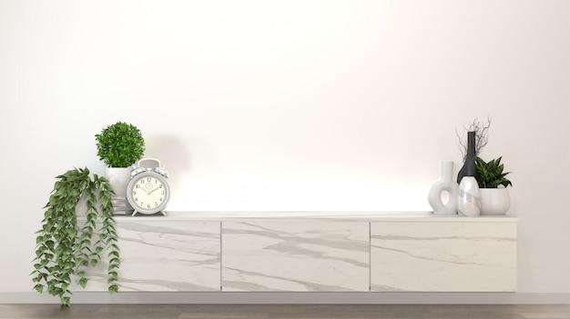 Granitowa szafka w nowoczesnym pustym pokoju zen, minimalistyczny design. renderowania 3d