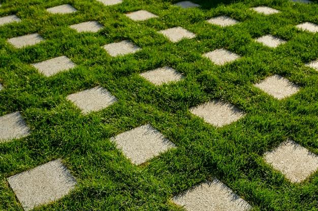 Granitowe kwadraty wśród zielonego trawnika w projekcie architektury krajobrazu