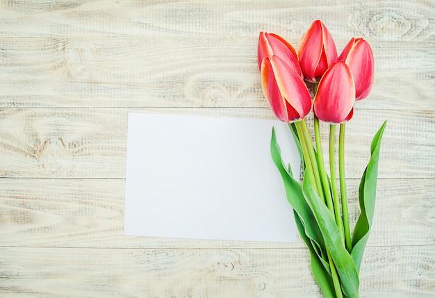 Gratulacje i tulipany na jasnym tle. selektywne skupienie.