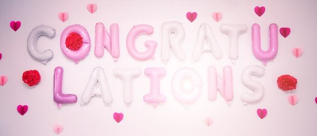Gratulacje znak kolorowych balonów.