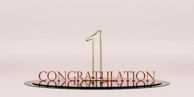 Gratulujemy zdobycia pierwszego miejsca trofeum i zwycięstwo na podium. ilustracja 3d