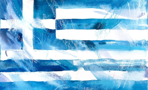 Grecja, grecka flaga. ręcznie rysowane akwarela ilustracja.