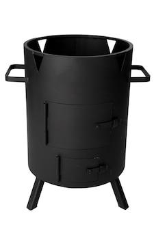 Grill czarny metalowy grill na białym tle
