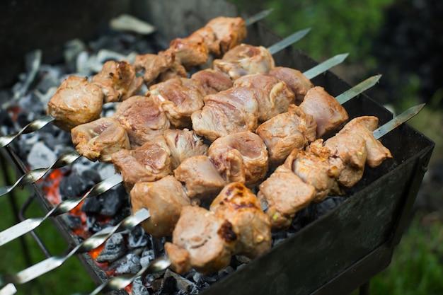 Grill wołowo-wieprzowy, stek z grilla. kebab na szaszłyku