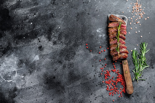 Grillowana spódnica, stek maczetowy. marmurowa wołowina mięso .. kopiowanie miejsca