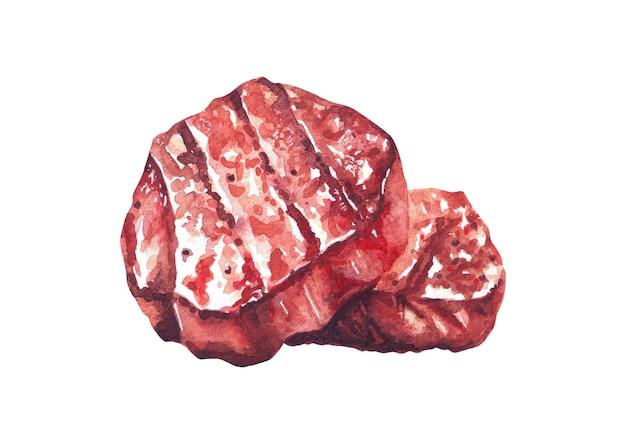 Grillowane steki wołowe. akwarela ręcznie rysowane ilustracja, izolowana na białym tle