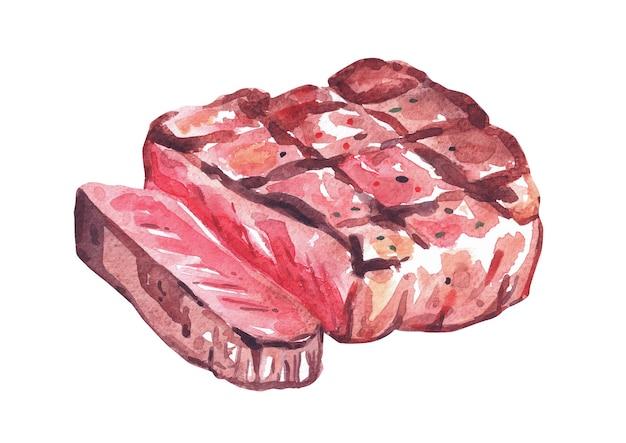Grillowany stek wołowy. akwarela ręcznie rysowane ilustracja, izolowana na białym tle