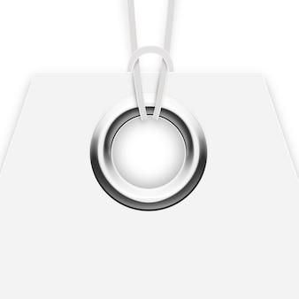 Gromment metalu na etykiecie na białym tle