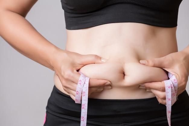 Gruba kobieta ręka trzyma nadmiar tłuszczu z brzucha. pojęcie opieki zdrowotnej