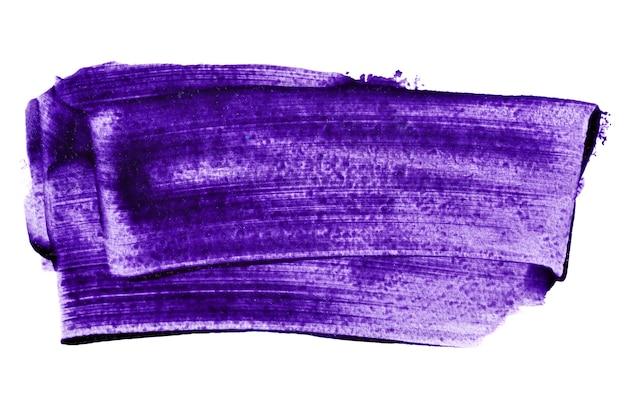 Gruby fioletowy pociągnięcia pędzlem zbliżenie na białym tle na białym tle. ręcznie rysowane abstrakcyjna ilustracja rastrowa