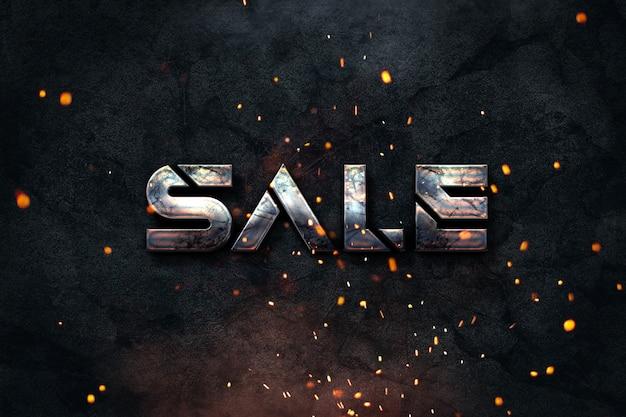 Grunge banner sprzedaży przemysłowej stylu dla e-sklepów lub profili mediów społecznościowych z ciemnym tłem i zardzewiałym tekstem metalicznym