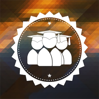 Grupa absolwentów ikona. projekt etykiety retro. hipster tło z trójkątów, efekt przepływu koloru.