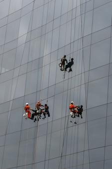 Grupa alpinistów przemysłowych sprzątająca okna na wieżowcu.