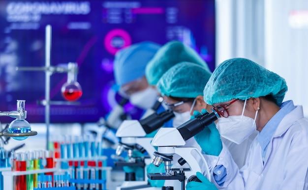 Grupa badaczek lub naukowców noszących ochronne maski higieniczne i mundury medyczne pracująca z mikroskopami w laboratorium badającym i analizującym sytuację koronawirusa.