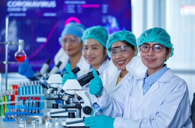 Grupa badaczek lub naukowców noszących ochronne maski higieniczne i mundury medyczne siedzących razem i pracujących z mikroskopami i probówkami w laboratorium i patrzących w kamerę.