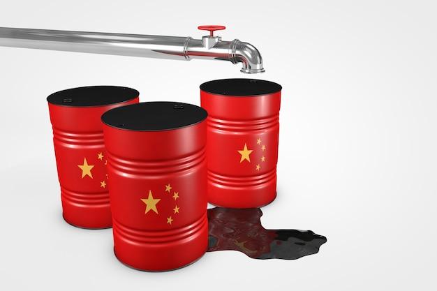 Grupa baryłek ropy naftowej z krajów świata na białym tle ilustracji 3d