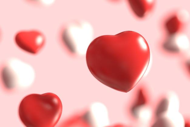 Grupa czerwone i białe gumy valentines serce unoszące się na różowym tle jako słodkie cukierki deszczowe.