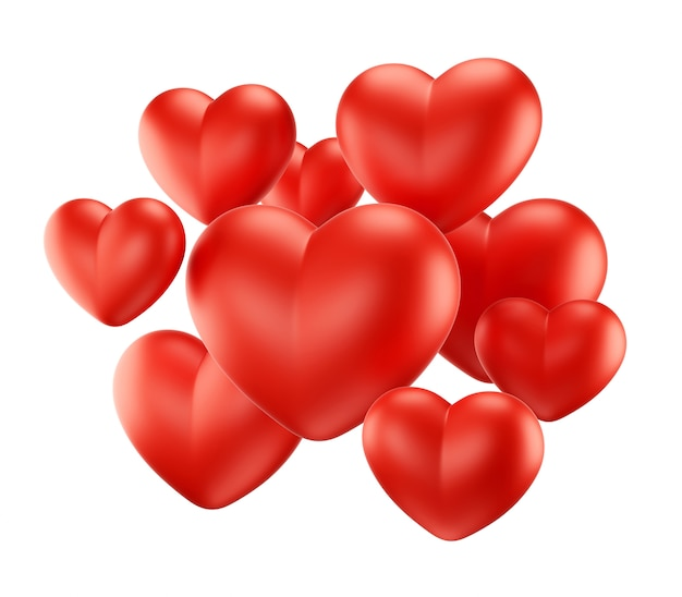 Grupa czerwone serca na czarno