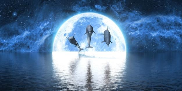 Grupa delfinów wyskakuje z wody na tle wielkiego księżyca, 3d ilustracji