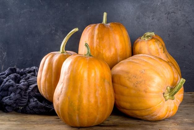 Grupa dojrzałych jesiennych dyń, na tradycyjnym, przytulnym domu drewnianym ciemnym tle składu jesienna sprzedaż zbiorów, tło wakacje święto dziękczynienia