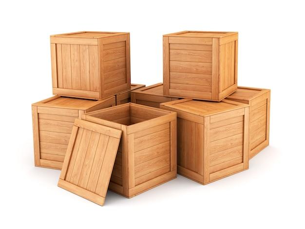 Grupa drewnianych skrzynek