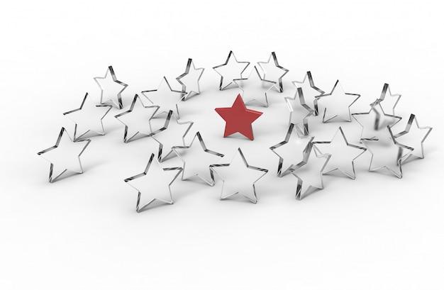 Grupa gwiazd na białym tle. koncepcja lidera. renderowanie 3d.