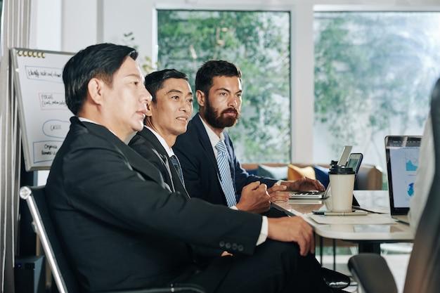 Grupa inwestorów słucha prezentacji projektu przedsiębiorcy na spotkaniu