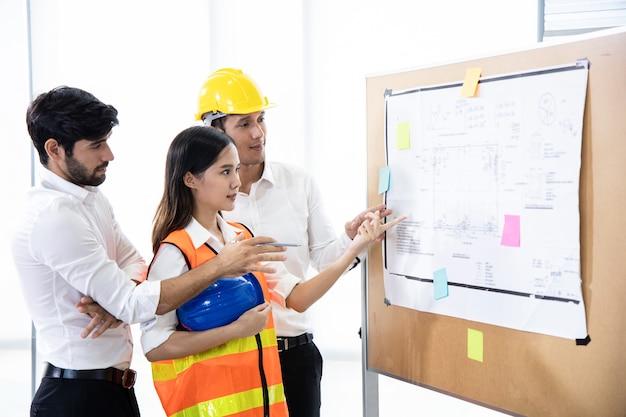 Grupa inżynierów omawiająca projekt