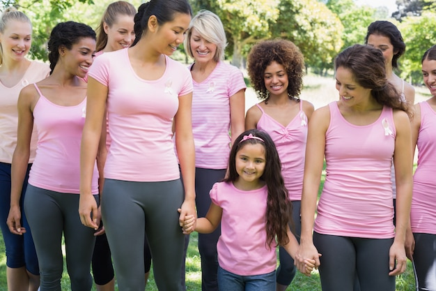 Grupa kobiet wspierających kampanie na raka piersi
